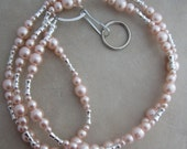 Pink Pearl and Silver Beaded Lanyard Badge ID Holder
