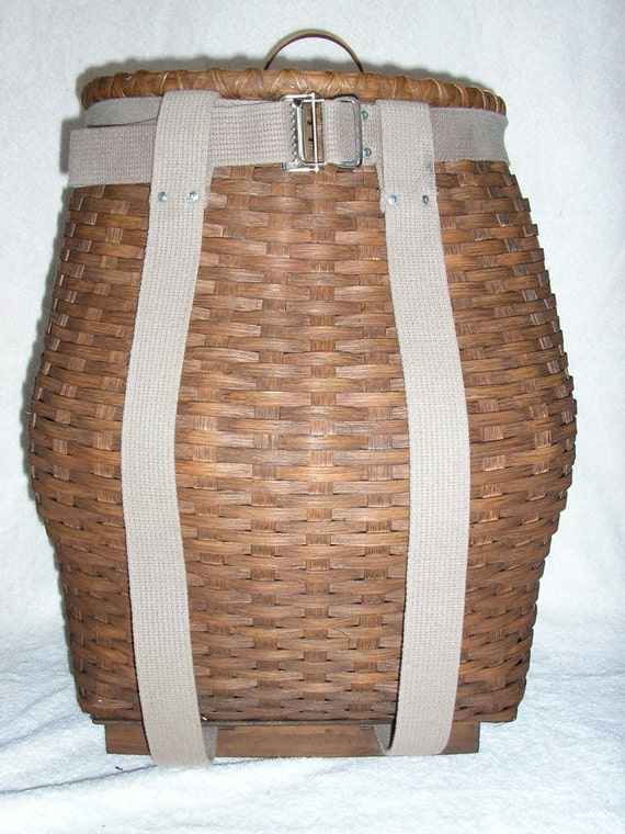 Handmade Pack Basket : Handmade ash splint style large adirondack pack by