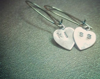 Kiss. Sweet Kiss Heart Dangle Copper and Brass Dangle Handmade Earrings