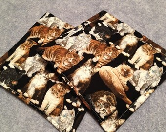 Cats Print Potholders Set of 2