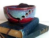 Burgundy Rustic Modern Ceramic Wheel Thrown Yarn Bowl - MADE TO ORDER