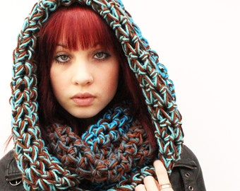 WATER Rasta Love Cowl Hood Vegan scarf Turquoise Blue earth Brown