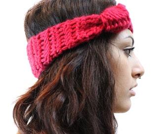 LAST ONE Headband chunky Knot ear warmer turban wool boxing glove red