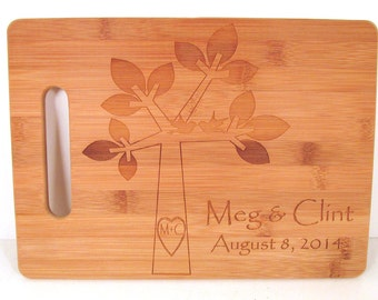 Custom Engraved Bamboo Cutting Board - Tree with Love Birds Design