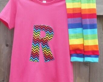 Boys or Girls Kids Shirt and Leg/Arm Warmer Set - Chevron Rainbow - Choose Appliqué Shape, Shirt Color - Birthday Gift or Photo Shoot Outfit
