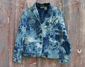 Bleach Tie Dyed Denim Fitted Jacket Misses Size Medium Jeans