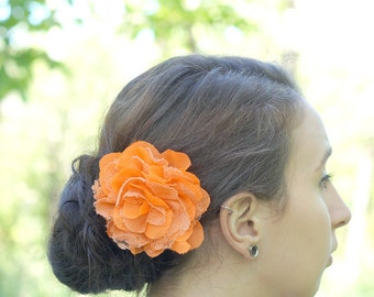 Orange Flower Hair Clip  - Shabby Chiffon and Lace Flower - With or Without Rhinestone Center