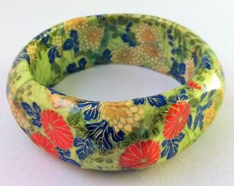 Jardin Fleur Cloisonne-Look Hand-Decoupaged Handmade Wood Bangle Bracelet