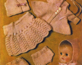 "Vintage Dolls Layette for 10""or12"" Doll,(Dress, Bonnet, Cape, Coat, Leggings, Vest, Pilch)Knitting Pattern, 1960 (PDF) Pattern, Bestway 3812"
