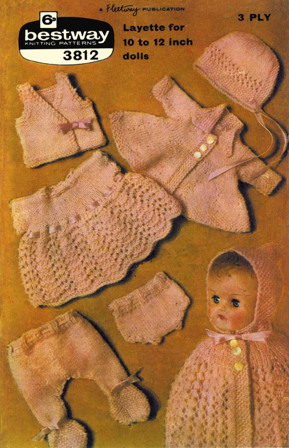 "Vintage Dolls Layette for 10""or12"" Doll,(Dress, Bonnet, Cape, Coat, Leggings, Vest, Pilch)Knitting Pattern, 1960 (PDF) Pattern, Bestway 3812"