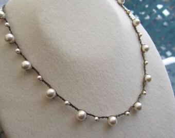 Pearl drops crocheted necklace, comfortable, earthy, natural, boho, bohemian wear
