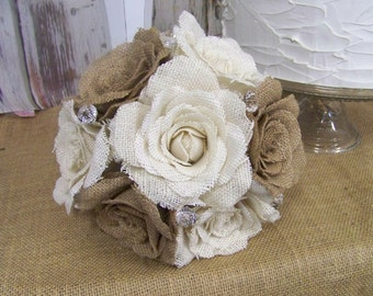 Burlap Wedding Bouquet, Shabby Chic Burlap Rose Bouquet, Brides Bouquet, Rustic Bouquet