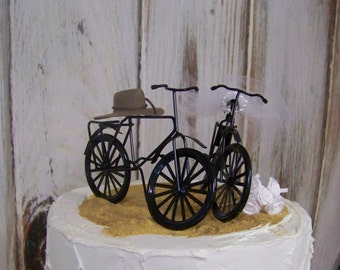 Bicycle Cake Topper, Nature Lovers Cake Topper, Bike Lovers Cake Topper with Bouquet, Bikers Cake TopperBride and Groom Cake Topper