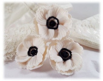 White Anemone Hair Pins - White Anemone Hair Clips, Anemone Hair Flowers, Small Anemone Bridal Hair Pins, Anemone Wedding Hair Pins
