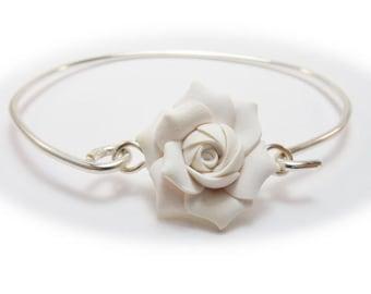 Gardenia Bracelet Sterling Silver Bangle - Gardenia Jewelry