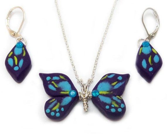 Blue Butterfly Jewelry: Purple Butterfly Jewelry Set Blue Purple Crystal Butterfly