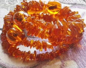 Baltic Amber Chip Amber Inlay Bee Memory Wire Bracelet