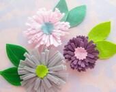 Felt Pom Flower Embellishment Set With Sewn Leaves