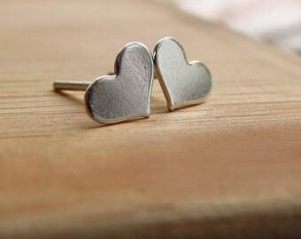Tiny Heart Post Earrings, Handmade Sterling Silver Posts, Heart Earrings, Heart Jewelry,Heart Stud Earrings, Silver Studs,Mini Post Earrings
