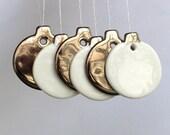 6 Mini Platinum Silver Bauble Decorations, real platinum lustre porcelain ornaments