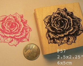 P57 Rose flower rubber stamp