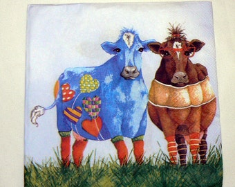 2 Napkins  from Germany funny cows