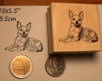 Chihuahua dog rubber stamp P60