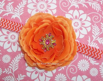 "Orange Flower Headband 3.5"" Ranunculus Flower Headband Rhinestone Flower Pink Orange Chevron FOE Headband Wedding Bridesmaid Flower Girl"