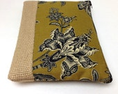Yellow Clutch with Free Personalization  Black Flowers on Olive Yellow, Burlap Jute Panel