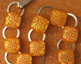 Fused Glass Bracelet  Orange Dichroic Bracelet Link Bracelet Glass Bracelet Dichroic Jewelry Fused Glass Jewelry