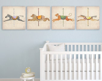 Carousel animals children's artwork graphic illustration on gallery wrapped canvas by Stephen Fowler
