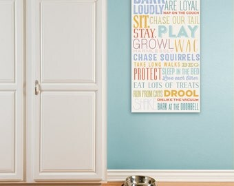 In this House Dog Rules family rules pet typography artwork on gallery wrapped canvas by Stephen Fowler