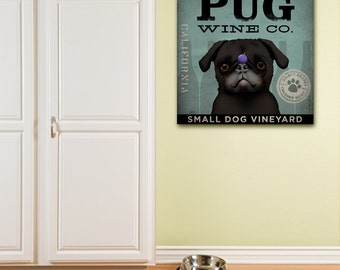 PUG Wine Company illustration graphic art gallery wrapped canvas by Stephen fowler geministudio