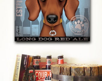 Dachshund brewing dog beer Company illustration graphic art on gallery wrapped canvas Stephen Fowler geministudio