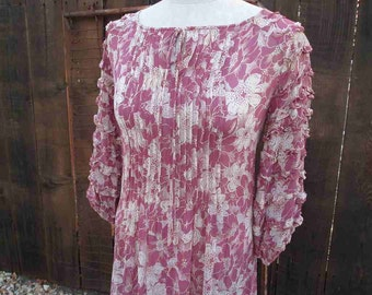 Vintage 70s Lilac Dress print Peasant dress Sheer voile cream floral dress garden print tucks ruffles  S