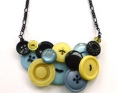 Light Blue, Pale Yellow, and Black Vintage Button Statement Necklace