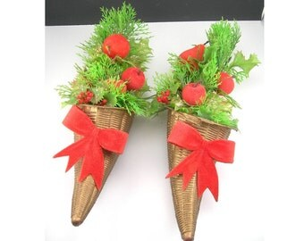 Kitschy Christmas Decor, Two Plastic Cornucopias filled with Greenery and Red Velvet Fruits, Circa 1960s, Retro Christmas, Holiday Ornaments