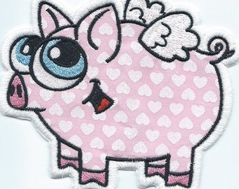 WHEN PIGS FLY iron on applique patch machine embroidered