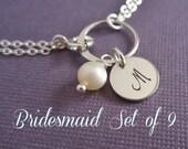 Bridesmaids bracelets, bridesmaid gift set of NINE (9), sterling silver initial bracelet, personalized bracelet, weddings bridesmaid jewelry