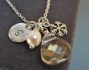 Bridesmaid necklace, winter wedding, snowflake necklace, silver initial necklace, snowflake charm, personalized bridesmaid jewelry,