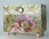 Decoupage Recipe Box for 4x6 Cards - Shabby Chic Roses