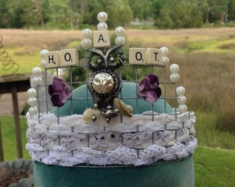 The Queen Who Gave a Hoot Upcycled Steampunk Assemblage Crown