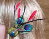 Peacock Hair Clip- So fun to wear