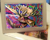 greeting card print of original art- moose meditation Zentangle
