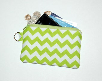 Chevron (Lime)  - iPhone 6s, iPhone 6, iPhone 5, iPhone 4, Samsung Galaxy S5/S6 - Cell Phone Gadget Zipper Pouch / Coin Purse