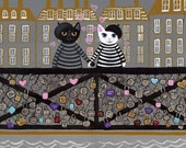 Paris Love Locks Whimsical Cat Folk Art Print 5x7, 8x10, 11x14, 16x20