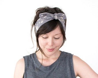 SALE SEE DESCRIPTION Tie Up Headscarf // Knotted Headband // Hair Wrap // Yoga Hairband // Workout Headband // Grey Paint Splash