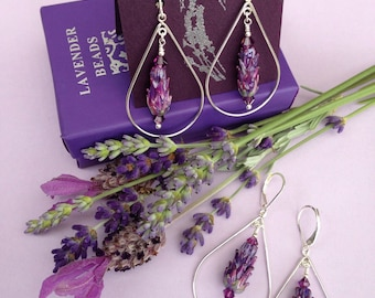 Lavender Glass Bead Dangle Teardrop Earrings, Mauve, Jade, Hyacinth, all sterling silver