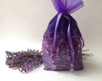 Organic Lavender Sachet Large Purple With Lace & Beaded Embelishments