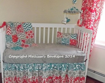Custom Boutique Coral Turquoise & Grey Chevron and Damask Bumperless Nursery Crib Bedding Set made with Designer fabric